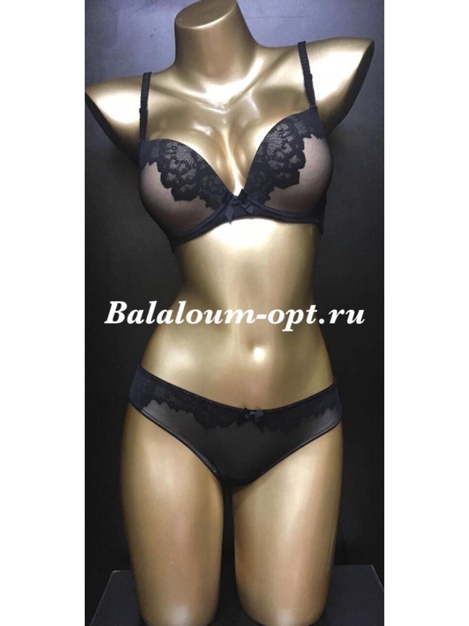 Комплект женского нижнего белья Balaloum А9381 Чёрно-коричневый