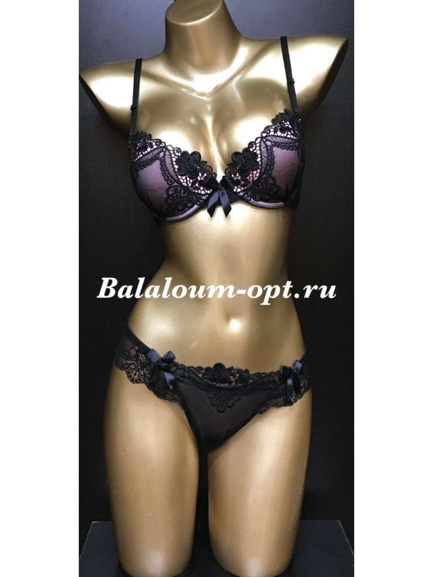 Комплект нижнего женского белья Balaloum А9280 Чёрно-розовый